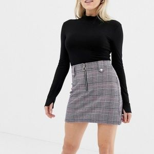 ASOS Check Mini Skirt with Pink Accent